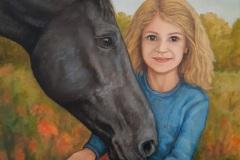 Portrait Mädchen mit Pferd